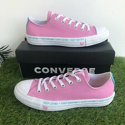 £29.99 • Buy Converse Trainers Size 5.5 UK Pink Leather Low Tops Love Heart Keep Fighting(200
