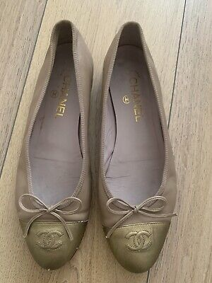£185 • Buy Chanel Tan&Gold / Nude Leather Ballet Pumps Size 39,5 UK 6,5