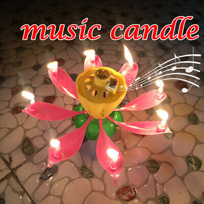 $ CDN7.54 • Buy Magic Music ROTATING Lotus Candle Birthday Flower Musical Floral Cake Candles