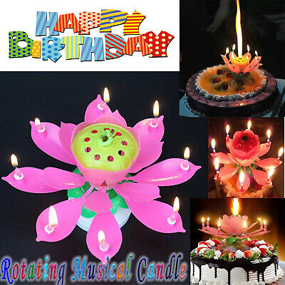 $ CDN7.54 • Buy Rotating Lotus Candle Birthday Cake Flower Musical Music Candles (Pink Color-8)