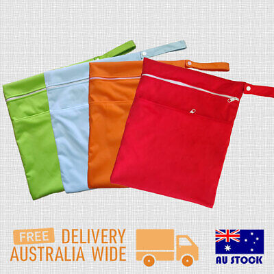 AU7.99 • Buy Large Wet Bags Waterproof 2 Pockets Zipper Baby Cloth Nappies Inserts Swimmers