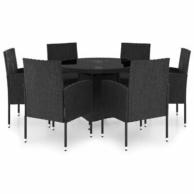 AU646.95 • Buy Stylish Rattan Dining Furniture Set 7 Pcs Round Table Chairs With Cushions Black