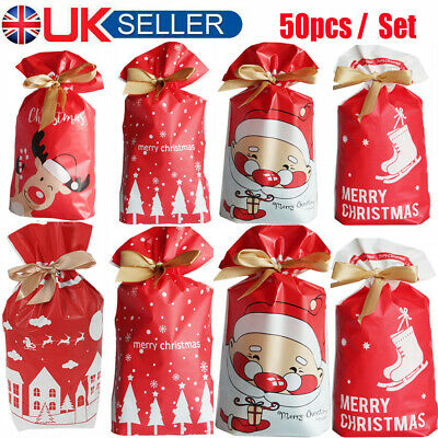 £6.39 • Buy 50pcs Christmas Drawstring Bags Party Favour Cookies Sweet Candy Gift Packing UK