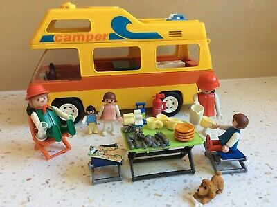 £19.95 • Buy Playmobil 3148 Vintage Retro Yellow Camper Van With Family - Great Condition