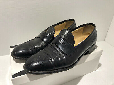 £65 • Buy Moreschi @ Russell & Bromley Black Leather Half Brogue Loafers Shoes UK 8 VGC