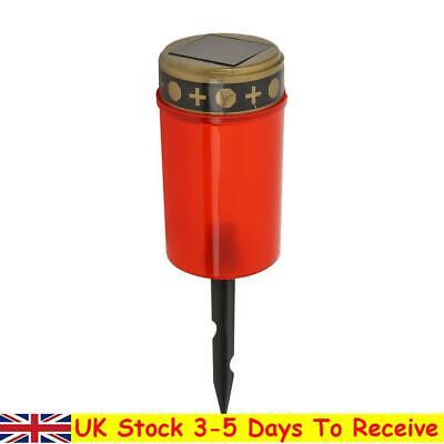 £7.38 • Buy Solar Power Grave Lawn Light Flameless Electronic LED Candle Lamp (Red)
