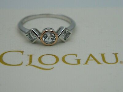 £69.95 • Buy Clogau Silver & 9ct Rose Gold Welsh Royalty Anniversary Topaz Ring RP £89 Size T