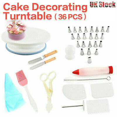 £7.96 • Buy Cake Decorating Turntable Set Tools Nozzles Mould Stainless Steel Spatula 36Pcs