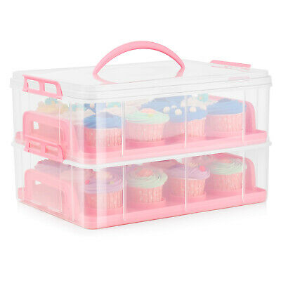 £32.91 • Buy Cupcake Carrier Holder Container Box Plastic Storage Basket Taker Courier, Pink