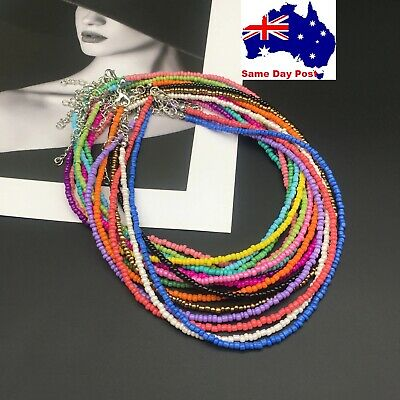 AU6.95 • Buy Beaded Seed Bead Silver Strand Necklace Women String Short Necklace Jewellery