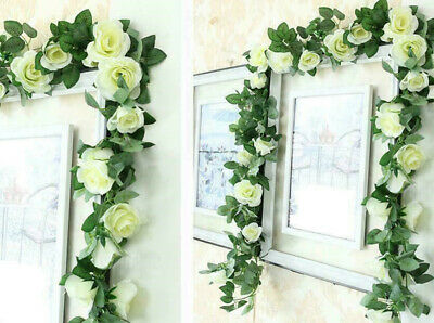 £4.49 • Buy 16Heads 7Ft Artificial Faux Silk Flower Rose Leaf Garland Vine Home Party Decor