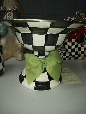 $124 • Buy Mackenzie-Childs Courtly Check Compote W/Green Bow - LARGE