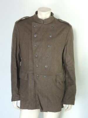 £89.91 • Buy John Varvatos Brown Wool Double Breasted Military Tunic Jacket Coat Size XL