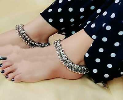£19 • Buy Beautiful Imitation SIlver Pakistani Anklet Payal Indian Bollywood Anklets Pair