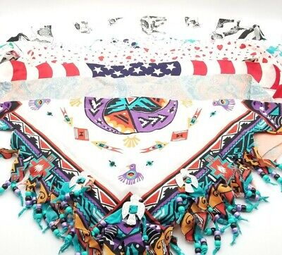 £14.65 • Buy Vintage Beaded Bandana Lot Of 6 Native American Flag Cow And More