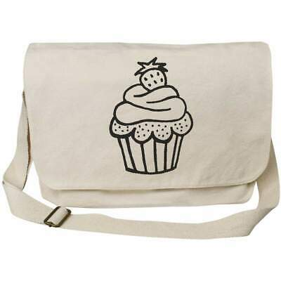 £14.99 • Buy 'Cupcake With Strawberry' Cotton Canvas Messenger Bag (MS00021829)