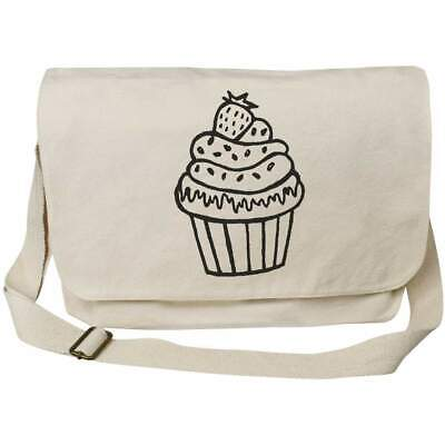 £14.99 • Buy 'Cupcake With Strawberry' Cotton Canvas Messenger Bag (MS00021831)