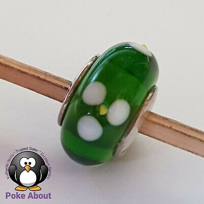 AU29 • Buy Pandora Green & White Flowers For You Murano Glass Charm 790614 Authentic Ale