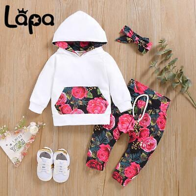 £9.59 • Buy LAPA Baby Newborn Girls Floral Hooded Tops Pants Headband Tracksuit 3Pcs Outfits