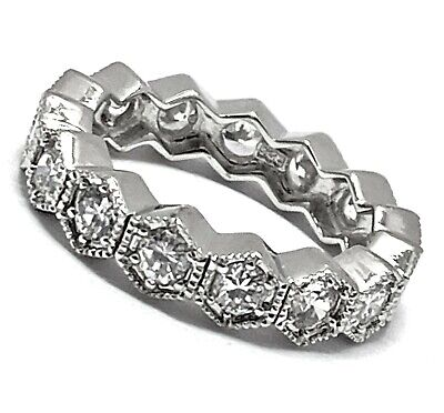 £10.54 • Buy 925 Sterling Silver 1.50ct Round Cut Diamonique Diamond Eternity Band Ring