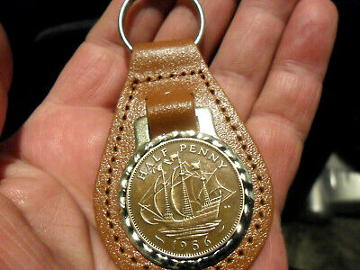 £9.99 • Buy 65th Birthday Gift 1956 Ship Coin Leather Keyring Gift For A Man Or Woman