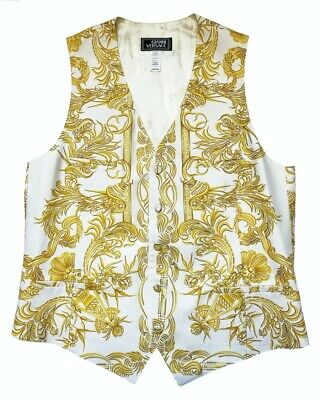 $599.99 • Buy Gianni Versace Couture Vintage Silk Vest Printed Baroque White Gold Silk 54