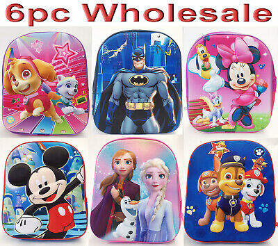 AU29.80 • Buy 6pc Wholesale 4D Kids Mickey Unicorn Frozen Spiderman Backpack Bags Mixed