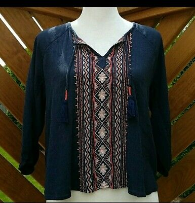 AU1.35 • Buy Hollister Navy Embroidered Peasant Blouse Size XS
