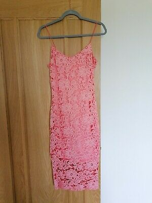 £6 • Buy RIVER ISLAND Coral Pink Dress Wedding Outfit Size 10