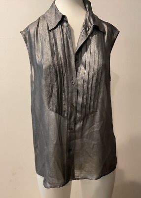 $ CDN25.16 • Buy Preowned Equipment Femme  Silver Short Sleeve  Blouse Top Size S  ! Cf