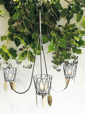 £42 • Buy Rustic Wire Tea Light Chandelier Candle Holder W/ Leaves, Wall Mounted Rust Leaf