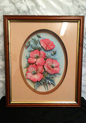 £8.95 • Buy Decoupage Framed Picture Vintage Rob Pohl Signed 3D Flowers Wall Decor