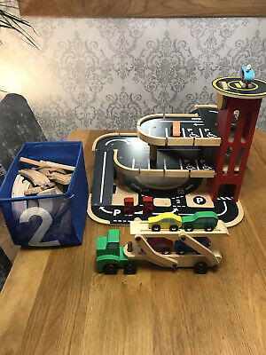 £10 • Buy Wooden Toy Garage, Wooden Car Transporter And Wooden Train Set