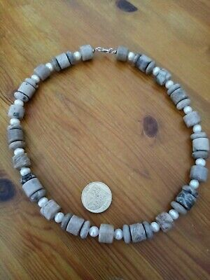 £15 • Buy TGGC Agate/fossil Coral & Freshwater Pearl Bead Necklace 925 Silver Clasp