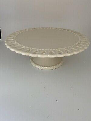 """$21.80 • Buy Godinger Milk Glass Cake Plate On Pedestal White. Open Lace With Beads 10"""""""