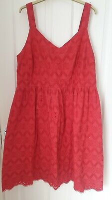 AU13.06 • Buy Size 18 Sun Dress Cotton Broderie Onglaise Red