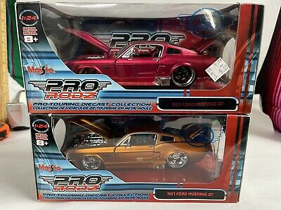 $35 • Buy 1967 FORD MUSTANG GT PRO-TOURING  1:24 MAISTO PRO RODZ R3. Two Cars Red & Gold