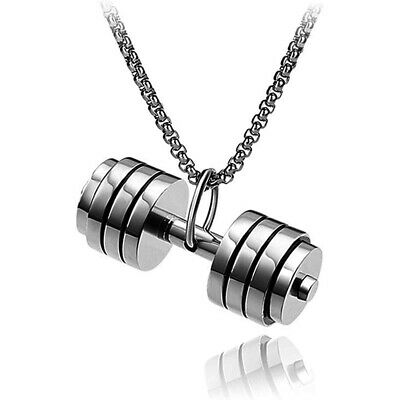 $0.99 • Buy Unisex Stainless Steel Barbell Gym Weight Lifting Dumbbell Mens Necklace Pendant