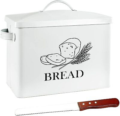 $32.95 • Buy Extra Large Tin Metal Farmhouse Bread Box & Lid Handle Free Knife FITS 2 LOAVES