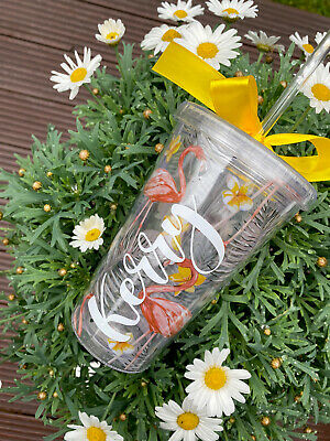 £7.99 • Buy Personalised Tumbler Cup With Name At The Front With Lid And Straw