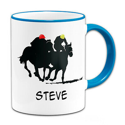 £7.99 • Buy Personalised (Any Name) Horse Racing Sillouette Gift Mug-Light Blue