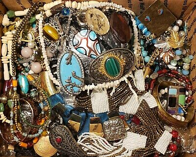 $ CDN88.12 • Buy HUGE 12 Lbs Vintage Mod Jewelry Lot Some Signed Most Wearable Southwest +