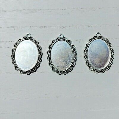 £4 • Buy 30 X 40mm Silver Tone Cameo Cabochon Setting Crafts Jewellery Necklace Earrings