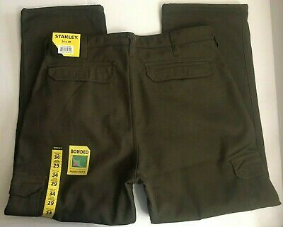 $24.99 • Buy New Mens Stanley Work Pants With Bonded Fleece Lining Drab Olive 34 X 29