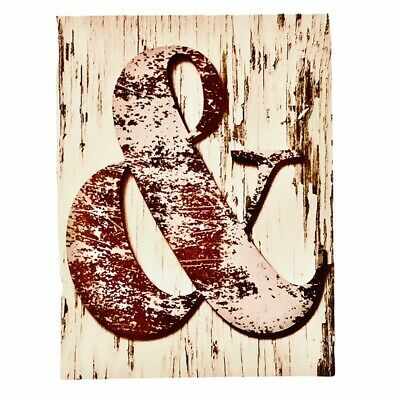 £17.40 • Buy Faux Wood Ampersand Canvas On Wood Frame Home Wall Hanging Decor