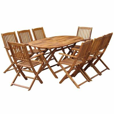 AU548.95 • Buy 9pcs Patio Dining Set Folding Table And Chairs Wooden Outdoor Garden Furniture