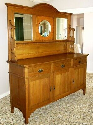 AU250 • Buy Antique 1920s Arts And Crafts Style Oak High Backed Sideboard