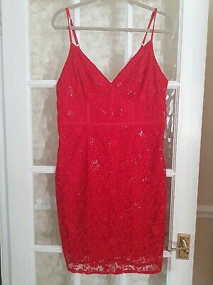 £4 • Buy Lipsey Michelle Keegan Red Lace Dress Size 16 Fully Lined Brand New 34  Length