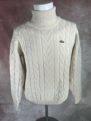 $34.87 • Buy Mens Lacoste Half Wool Chunky Cable Knit Jumper Colour White Cricket Style 3