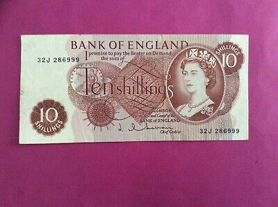 £5 • Buy Early 1960s HOLLOM TEN SHILLING NOTE VERY GOOD CONDITION